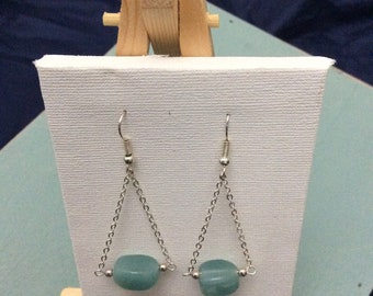 Aquamarine nugget drop earrings