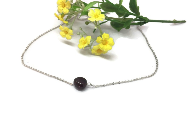 Freeform stone garnet choker January birthstone necklace cleansing crystal  Aura cleanse Metaphysical healing jewelry gift with meaning