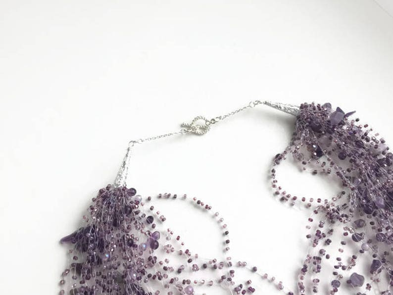 Multistrand necklace purple women Statement wife gift Lavender necklace Illusion necklace Solitaire necklace Amethyst jewelry Chunky choker