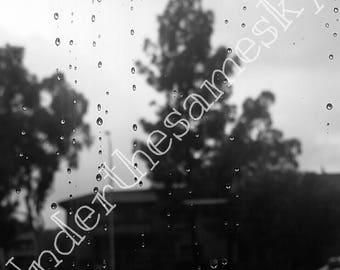 Black and white rainy day