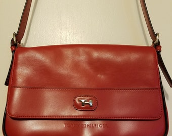 Vintage Tommy Hilfiger shoulder bag,  Red shoulder bag, Adjustable straps, Woman's handbag, Gift for her