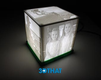 Custom Lithophane Photo Box LED Light Box - Choose Pictures, Text, Base Color - USA Made and Shipped