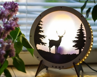 "Lamp ""Deer and forest"""