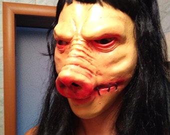 Saw JigSaw Pig mask with wig Hallowen mask Creepy swine hog piggy mask