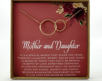 Mom Gift From Daughter Necklace Mothers Day Gifts For Mother Interlocking Circles