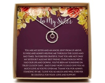 Gift For Sister Sisters Necklace Birthday Christmas Personalized 925 Sterling Silver