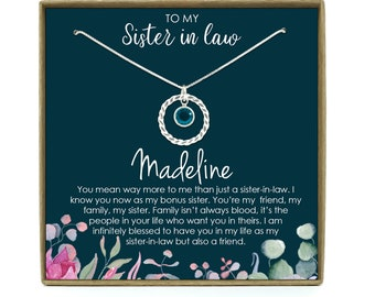 Sister in Law Necklace Sister-in-Law Birthday Gift for Sister in Law Gift from Bride Best Sister in Law
