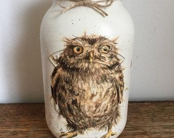 Owl Kilner Vase