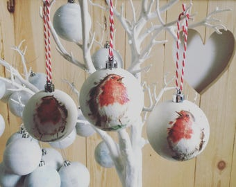 Christmas Robin baubles set of 3