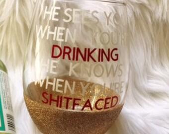 Christmas Wine Glass / Santa Wine Glass / Christmas wine glasses / funny wine glasses / glitter wine glass