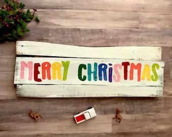 Merry Christmas Sign | Rainbow