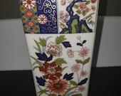 Vintage Imari Japanese Porcelain Vase, Cobalt Red Green Imari Floral Vase