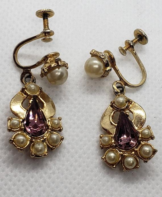Teardrop Dangle Screw Back Earring / Purple Glass