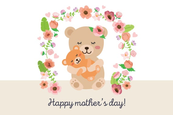 Happy Mothers Day Mama Bear Illustration With Flowers Cute
