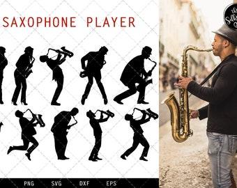 36373e16 Saxophone Player svg file, jazz musician svg cut file, silhouette studio,  cricut design space, Svg, Png, Eps, Pdf, Vector Design