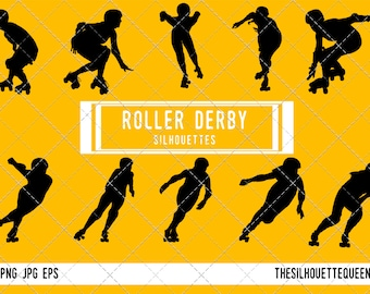 Roller derby girl silhouette, Roller derby clipart, Roller derby sports vector, Svg, png, eps,   jpg
