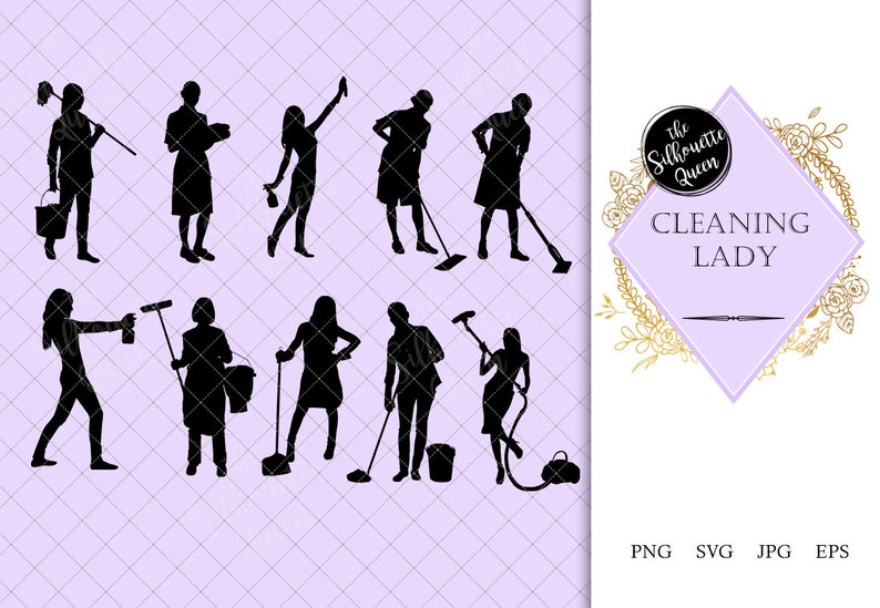 Cleaning Lady Silhouette Maid Vacuum Vector Cinderella With Etsy