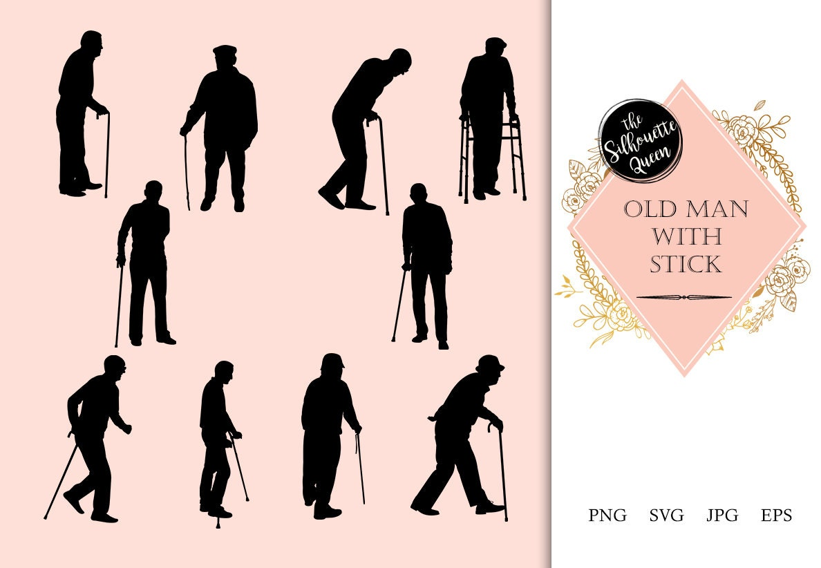 Old Man Silhouette Old Man Clipart SVG cut file cricut   Etsy