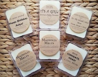 WHOLESALE Custom Designed Labels, Custom Label Wax Melts, Soy Wax Melt, Magnolia Melts, Custom Scented Wax Melts, Handmade Wax Melts