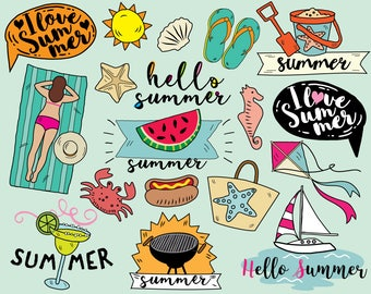 I Love Summer Clipart Vector Beach Sailboat Stickers Vacation Hello
