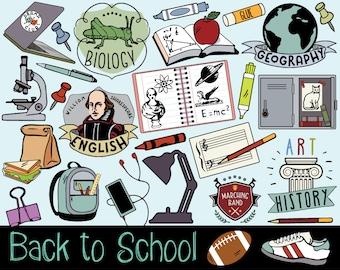 School Clipart, school stickers, college doodles, back to school clipart, school clip art, fall clipart, autumn clip art, school clip art