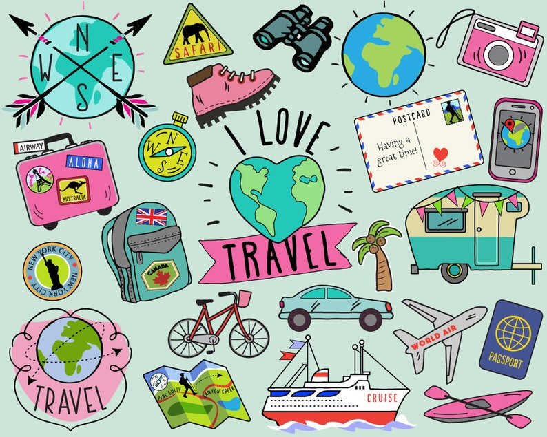 Travel Clipart Summer Clipart Bullet Journal Stickers