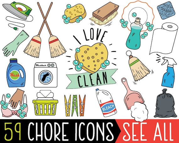 chore clipart jumbo bundle cleaning clipart printable chore etsy rh etsy com chores clip art printable free chorale clipart