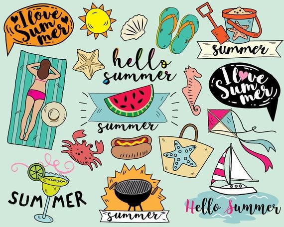 i love summer clipart vector beach clipart sailboat etsy rh etsy com summer vacation homework clipart happy summer vacation clipart