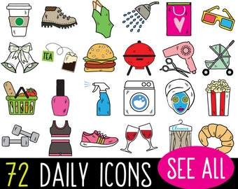 MEGA Bundle Daily Planner Sticker Clipart, vector, bullet journal stickers, printable planner stickers, chore list sticker clipart, icon