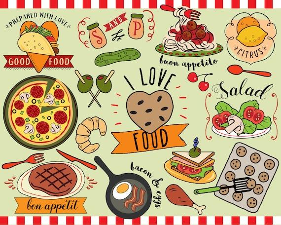 I Love Food Clipart Vector Food Food Clip Art Planner Etsy