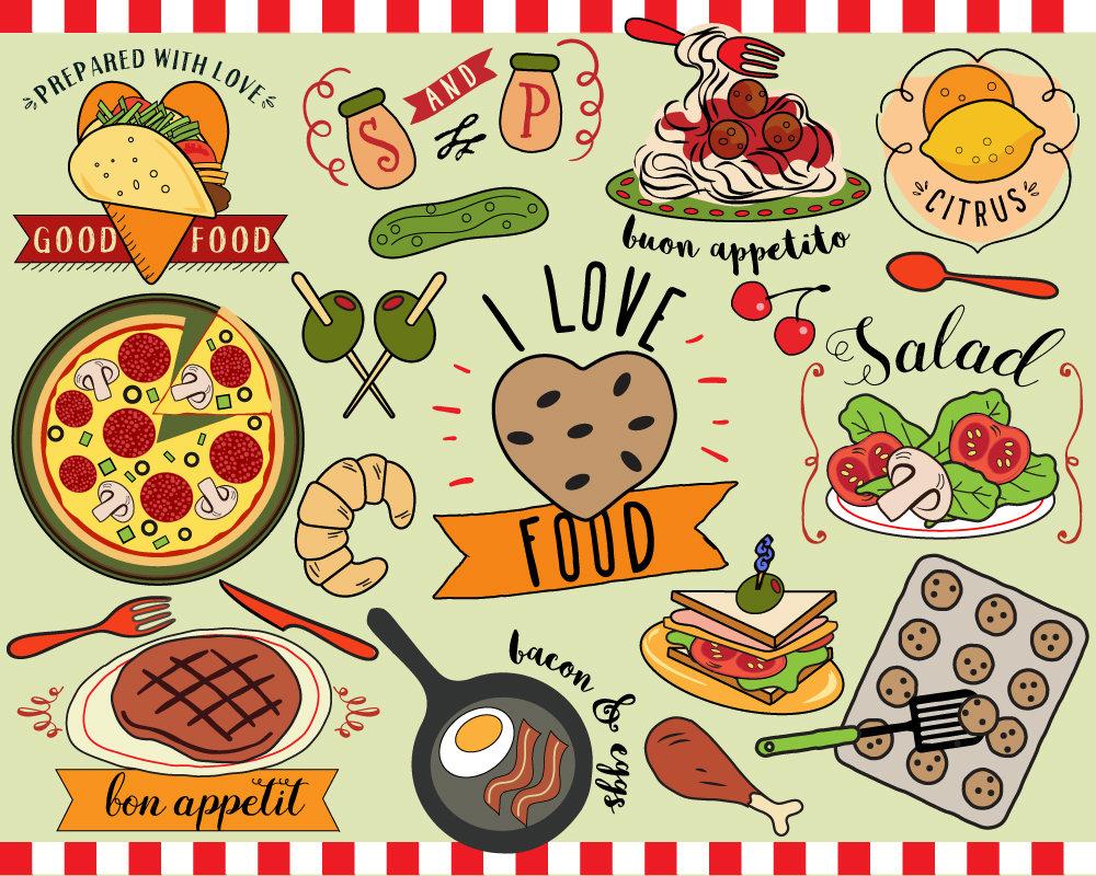 I Love Food Clipart vector food food clip art planner | Etsy