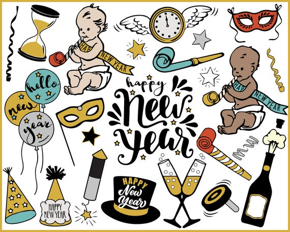 new year clipart new year s eve baby new year etsy new year clipart new year s eve baby new year champagne new year journal printable stickers instant download gold and black