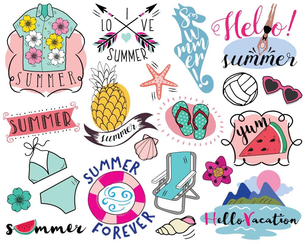 Vacation Summer Clipart vector summer clip art beach | Etsy