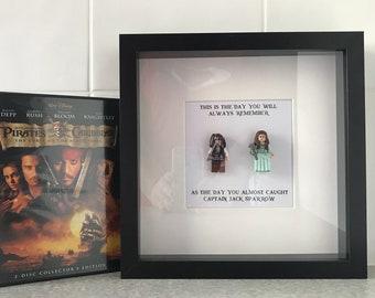 Pirates of the Carribean Minifigure Shadowbox - Jack Sparrow and Elizabeth Swann