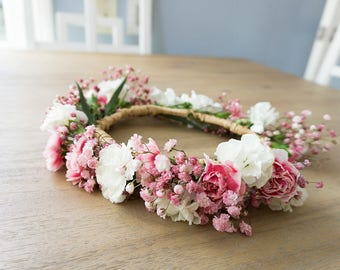 2033ee541 Pink Princess Fresh Flower Crown - Carnations - Babies Breath - Pink and  White Flowers