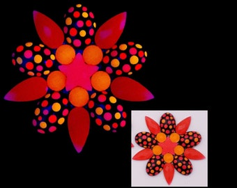 BLACKLIGHT GLOW PASTIES –  Rave Festival Clothing - Hand Painted Neon Orange & Red Nipple Covers - Gina's Gems Reusable Designer Pasties