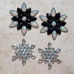 CRYSTAL & BLACK PASTIES (2 Sets) - Iridescent Rhinestone - Glitter Nipple Covers - Rave Clothing - Gina's Gems Reusable Designer Pasties