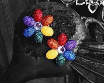 PASTIES GLITTER Handmade - Jeweled - RAINBOW Pride - Festival Costume - Rave Clothing - Dance Wear– Gina's Gems Reusable Designer Pasties