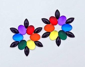 PASTIES RAINBOW FLOWER - Rave Clothing - Nippleless - Jeweled - Nipple Exposed for Piercing Jewelry – Gina's Gems Reusable Designer Pasties
