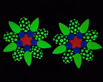 NEON GLOW PASTIES - Yellow, Blue & Orange Black Light  –  Reusable Nipple Covers - Glow Party Pasties