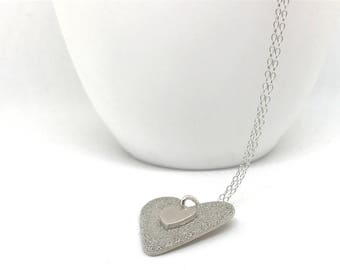 Fine Silver Heart Pendant Necklace With Sterling Silver Chain Modern Jewellery  OOAK Unique Gift for Mum With Gift Box