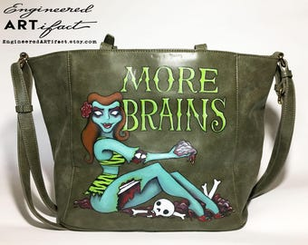 More Brains - Zombie Pinup Girl - Hand Painted Purse - Large Vegan-Leather Shoulder Bag - Crossbody Bag