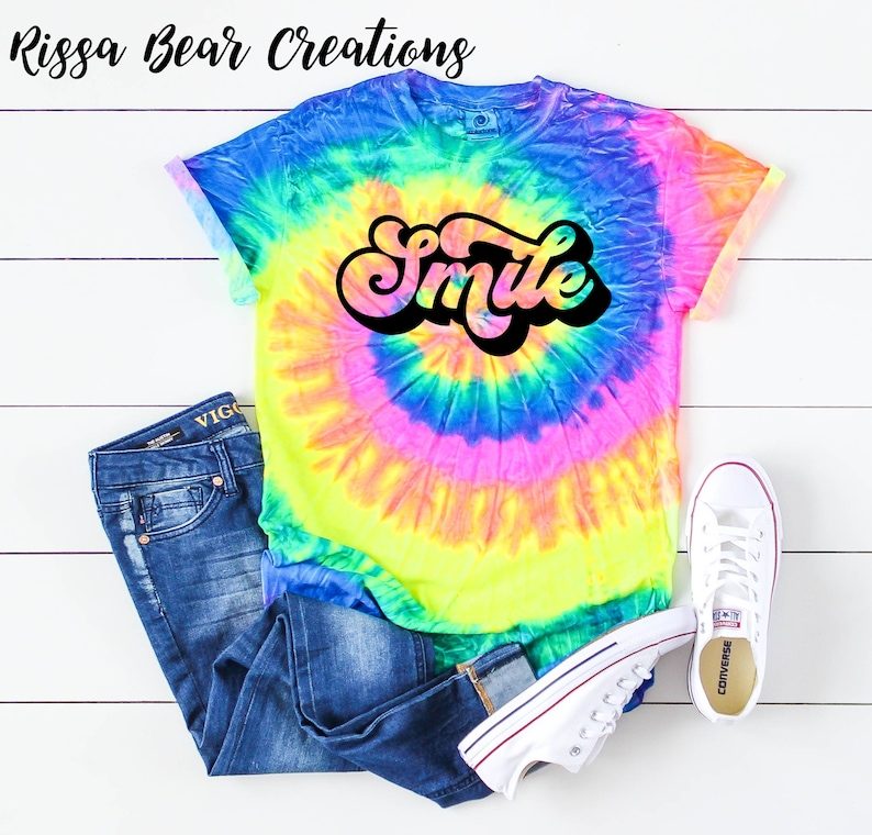 Groovy Happiness and Kindness collection neon rainbow tie dye t-shirt