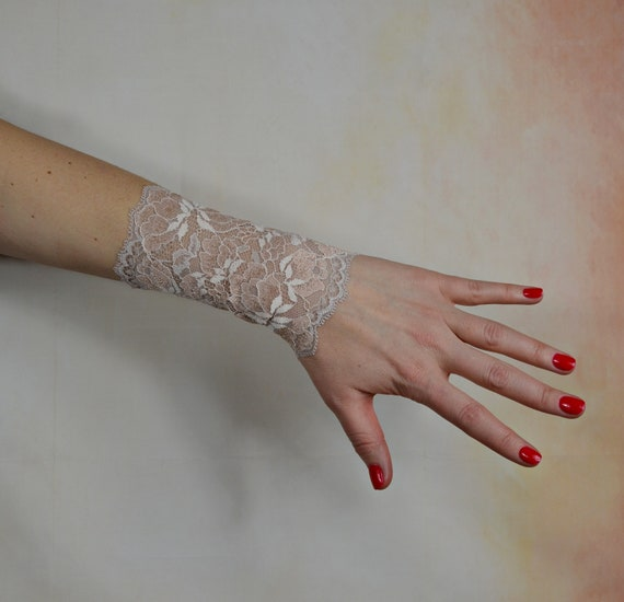 Lace Wrist Cuff Beige Bracelet Wrist Tattoo Cover Up Stretch Bracelet Sleeve Extender W10