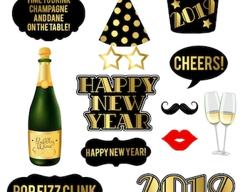 new years eve props printable pdf 2018 new years eve photo booth props black and gold party props instant download happy new year party