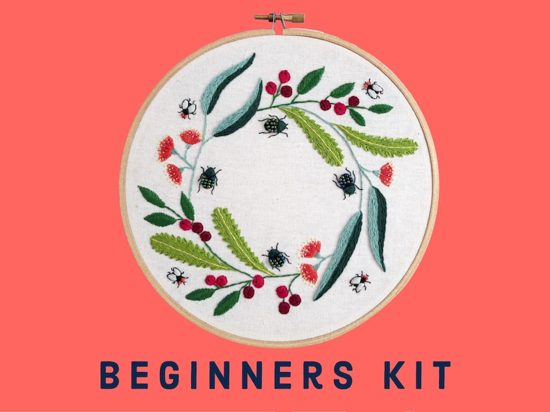 Learn to Embroider Kit  Christmas Beetle Wreath  Australian image 0