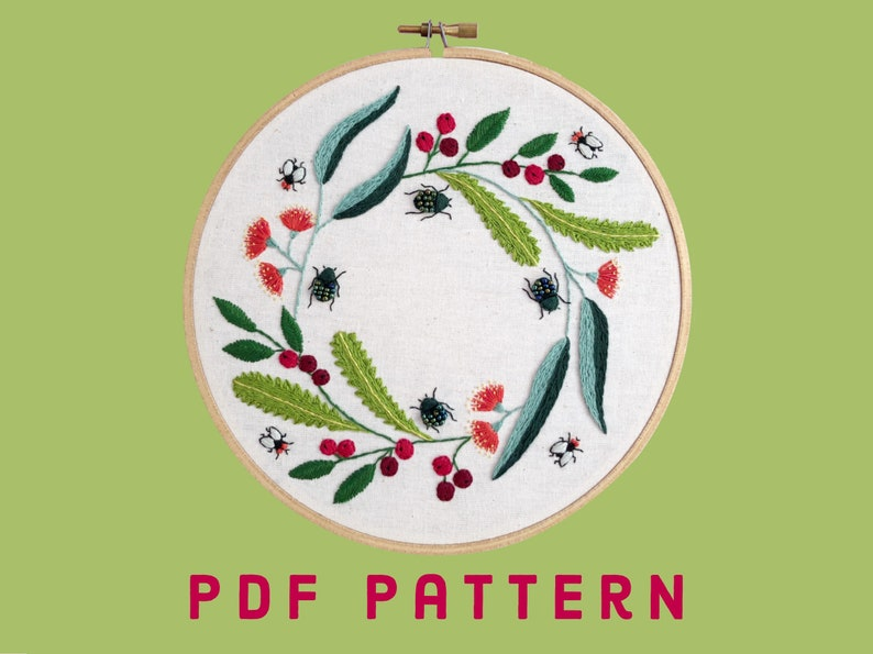 Christmas Beetle Wreath Pattern  original design  instant image 0
