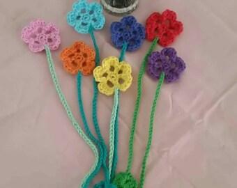Hand Crocheted Flower Bookmark