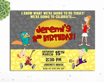 Phineas and Ferb Birthday Invitation, phineas and herb printable, Phineas and Ferb Invitation, Phineas and Ferb Birthday, Phineas and Ferb I