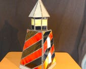 Handmade Leadlight. Tea Light Candle Lighthouse with Removable Roof. Stained Glass 8f. Stained Glass